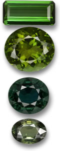 Green Tourmaline and Green Sapphire Gems