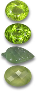 Peridot and Prehnite Gemstones