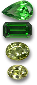 Tsavorite and Demantoid Garnet Gems
