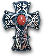 Stamped Silver and Coral Cross Pendant