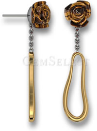 Carved Tiger's Eye Dangle Earrings