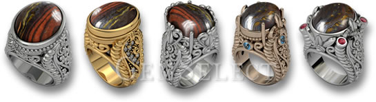 Tiger's Eye Matrix Rings by GemSelect