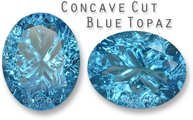 A Concave Cut Blue Topaz Gemstone from GemSelect