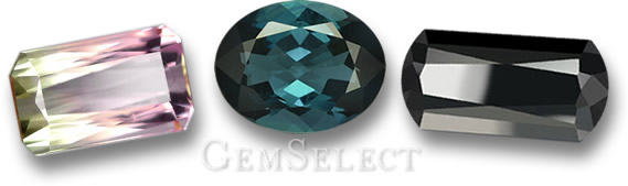 Watermelon, Blue and Black Tourmaline Gemstones from GemSelect