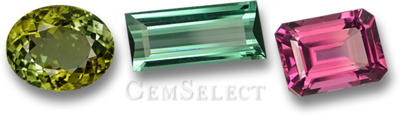 Green, Blue-Green and Pink Tourmaline Gemstones from GemSelect