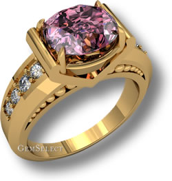 Gold Tourmaline Ring with Side Stones