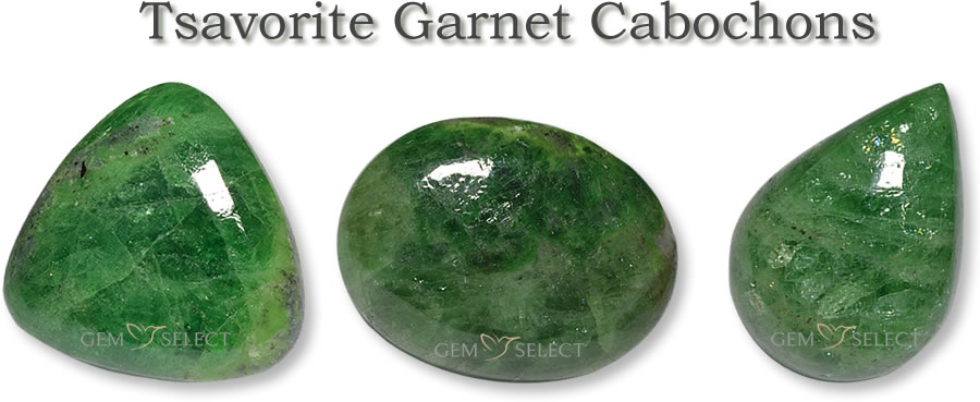 A Photo of Tsavorite Garnet Cabochons from GemSelect