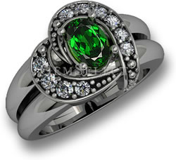 Silver Tsavorite Garnet Ring with White Sapphire Accents
