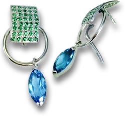 Tsavorite Garnet and Blue Topaz Drop Earrings