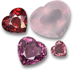 Gems of Love: Pyrope Garnet, Rose Quartz, Rhodolite Garnet and Pink Sapphire Hearts