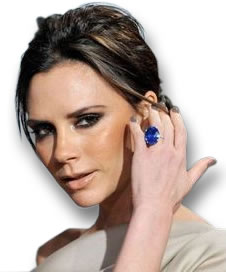 Victoria Beckham Showing off a Large Blue Sapphire Ring