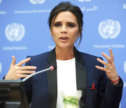 Victoria Beckham as UNAIDS Goodwill Ambassador, Wearing an Emerald-Cut Yellow Diamond Ring