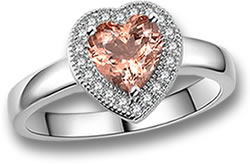 Rhodium-Plated White Gold and Morganite Ring