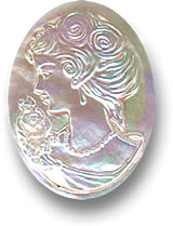 Mother-of-pearl cameo gemstone