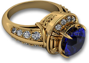 Yellow Gold Engagement Ring with Blue Sapphire and White Diamond