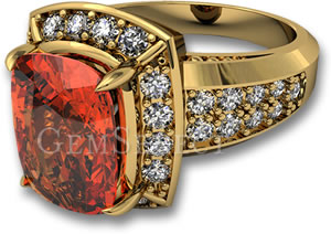 Yellow Gold Engagement Ring with Spessartite Garnet and White Sapphire