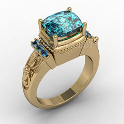 Blue Zircon Gold Ring