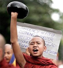 Burmese Monks refusing alms!