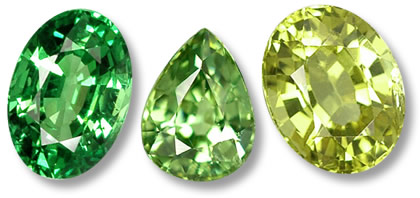 Green Garnets: Tsavorite, Demantoid and Grossularite