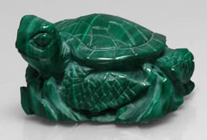 Massive malachite carving