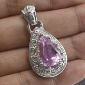 Buy a 14.9ct Kunzite Sterling Silver Pendant from GemSelect
