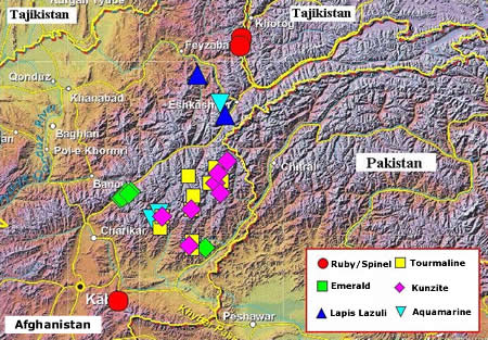Gemstones from Afghanistan - Location Map