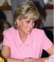 Lady Diana Spencer with her blue sapphire ring