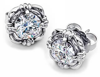 Moissanite Earrings in White Gold