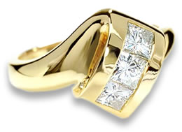 Moissanite in Yellow Gold Ring