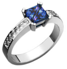 Palladium Tanzanite Ring