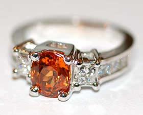 Spessartite Garnet 18k White-Gold Ring