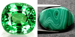 Tsavorite and Malachite Gemstones