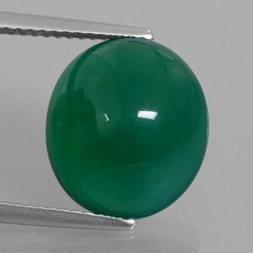 Forest Green Agate Gem - 6.7ct Oval Cabochon (ID: 426215)