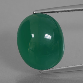 Green Agate Gem - 7.7ct Oval Cabochon (ID: 426220)