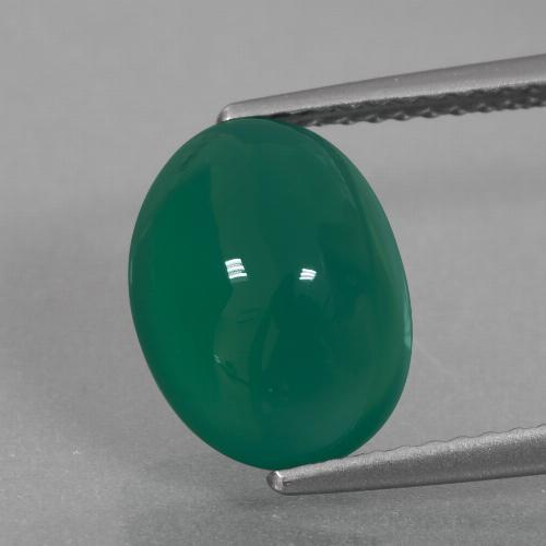 Green Agate Gem - 3.7ct Oval Cabochon (ID: 426306)