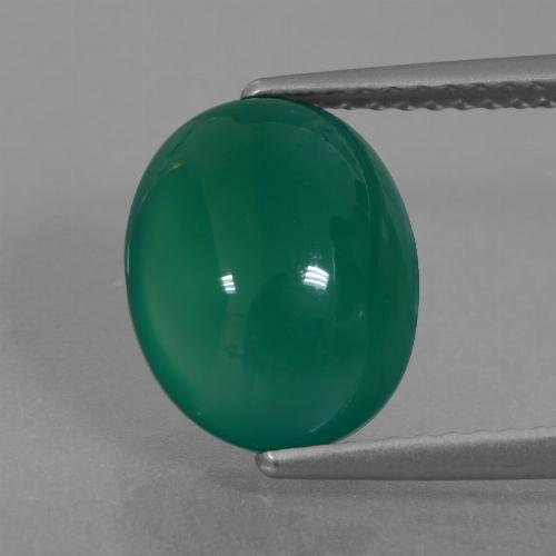 Green Agate Gem - 3.4ct Oval Cabochon (ID: 426346)