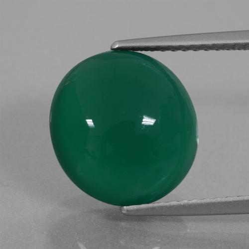 Forest Green Agate Gem - 6.8ct Oval Cabochon (ID: 426356)