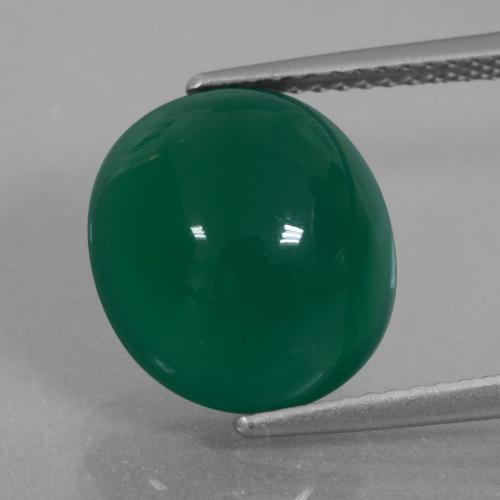Green Agate Gem - 6.6ct Oval Cabochon (ID: 426358)