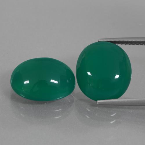 Medium Green Ágata Gema - 6.2ct Cabujón Óvalo (ID: 426365)