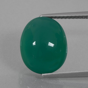 6.85 ct Oval Cabochon Green Agate Gemstone 12.76 mm x 10.2 mm (Product ID: 426416)