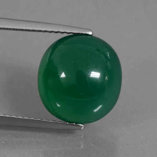 Medium Green Agate Gem - 7ct Oval Cabochon (ID: 437049)