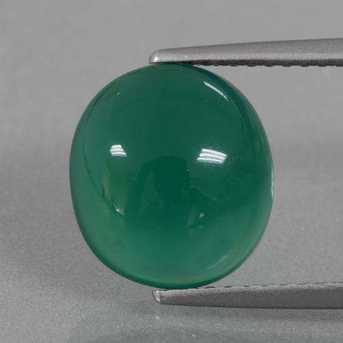 Green Agate Gem - 3.8ct Oval Cabochon (ID: 437152)