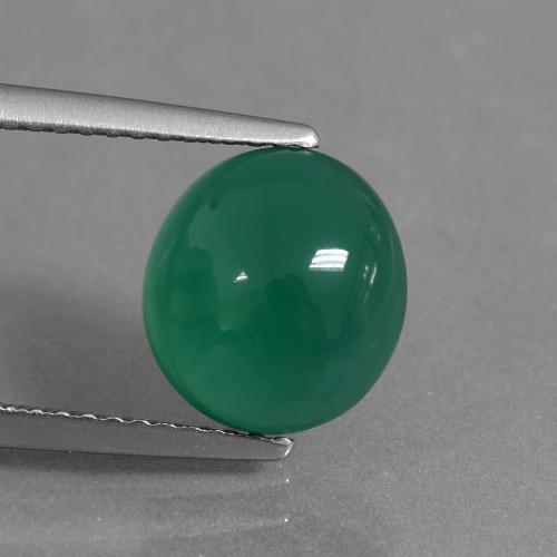 Medium Green Ágata Gema - 2.8ct Cabujón Óvalo (ID: 437293)