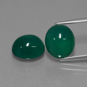 Green Agate Gem - 3.3ct Oval Cabochon (ID: 443531)