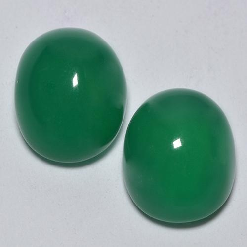 Medium Green Ágata Gema - 3ct Cabujón Óvalo (ID: 443554)
