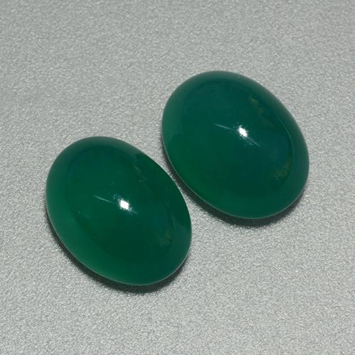 Medium Dark Green Agate Gem - 3.2ct Oval Cabochon (ID: 443556)