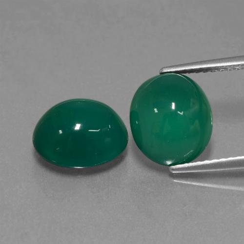 Medium Deep Green Agate Gem - 3.5ct Oval Cabochon (ID: 443605)