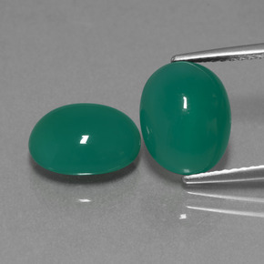 Medium Green Agate Gem - 3.2ct Oval Cabochon (ID: 443649)