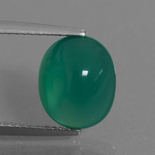 Green Agate Gem - 3.1ct Oval Cabochon (ID: 443668)