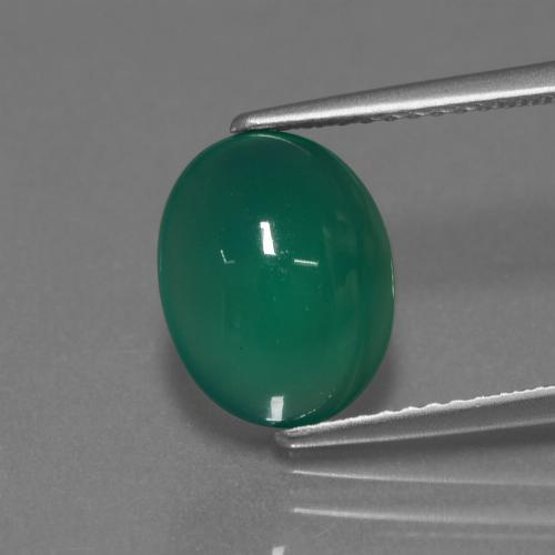 Medium Green Agate Gem - 3.2ct Oval Cabochon (ID: 443818)